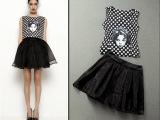 2014夏季欧美时尚娃娃头刺绣波点背心上衣+网纱短裙套装 女