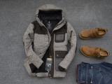 外贸男苏打棉衣时尚修身厚棉服 拼色毛呢 男休闲外套 中长款口袋
