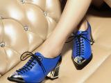 欧洲站2014新款潮女鞋 欧美时尚粗跟女单鞋外贸 真皮女鞋