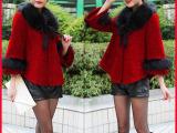 2014秋冬新款女装呢子上衣 韩版短款大码宽松毛领斗篷毛呢外套女