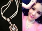 韩国饰品 时尚小清新锁骨链 韩版奢华水晶多层珍珠闪钻短款项链女