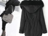 2014冬装欧意丝面料加长毛绒内胆中长款连帽欧美女棉衣冬装外套