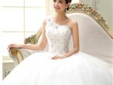 婚纱礼服 新款2015时尚韩版单肩婚纱韩版蕾丝公主新娘斜肩齐地纱