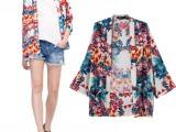 人棉印花和服外套开衫 SOS新款女装批发 混批 一件代发