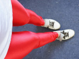 大爱!超有范亮面闪亮金属彩色仿绸缎彩色弹力小脚裤九分打底裤女