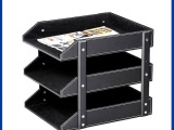 东莞厂家直销皮质桌面收纳盒 3层A4纸文件框 资料书籍杂物盒