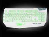 达尔优审判者 USB有线白色3色背光游戏键盘 电脑机械手感 CF