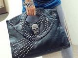 2014年新款铆钉骷髅头女包 欧美时尚手提包单肩斜挎包热卖潮包包