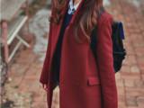 2014外贸原单新款女装 欧洲站时尚气质百搭高贵酒红呢大衣外套