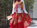 2015新款棉麻民族风女士多层不规则大摆长裙子半身裙沙滩裙多色潮