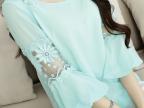 2015夏季新款大码女装韩版七分袖打底雪纺衫气质显瘦蕾丝刺绣上衣