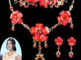新娘饰品婚纱配饰批发 红色合金镶钻三件套皇冠项链耳环皇冠头饰