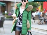 冬装新款正品潮韩版猫耳朵大毛领中长款羽绒服女加厚批发