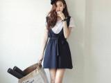 2014新款 韩国代购夏季学院风格子短袖t恤+背带连衣裙套装