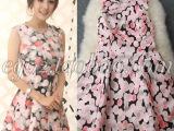 特价促销 杨幂同款粉色波点背心连衣裙 欧洲站明星款高腰连衣裙