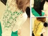 春装新款蕾丝拼接防晒薄款针织衫修身花朵簇拥小开衫女小衫外套
