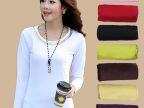 2014秋装新品韩版女装修身圆领亮片牛奶丝加绒打底衫长袖厂家直销