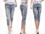 2014韩版个性破洞潮裤子宽松显瘦小脚裤薄马裤 七分牛仔裤女