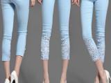 2015夏季新款女裤 蕾丝钩花镶钻外穿小脚裤打底七分裤一条起批