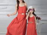 熠美思2015夏装韩国童装童裙沙滩雪纺亲子装 夏母女装新款批发