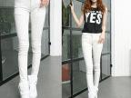 2014秋装新款韩版弹力白色女休闲裤 修身显瘦牛仔长裤