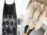 2014新款女装 蕾丝下摆吊带裙 韩版时尚吊带小背心裙 厂家批发