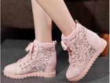 温州女鞋14春夏新款透气镂空内增高女鞋网鞋女式鞋蕾丝高帮鞋