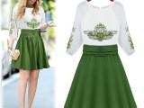 2015年夏季新款修身刺绣中袖连衣裙 复古欧美大牌雪纺连衣裙 女