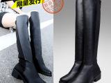 2014新款英伦长靴女士过膝高筒靴子修身弹力布靴高跟女士皮靴批发