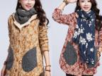 2014新款大码女装 韩版修身保暖加绒加厚印花棉外套女