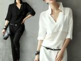 春装女式衬衣五分袖直筒雪纺衫女中长款白色衬衫宽松衬衣