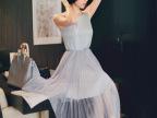 2014春夏装新款韩版连衣裙无袖长裙百褶修身连衣裙中长款公主裙