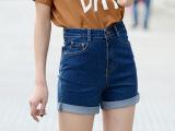 2015新款韩版夏季女式高腰牛仔短裤女显瘦卷边热裤休闲大码裤子潮
