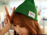 批发猫哥针纺森女日韩儿童帽尖尖毛线帽 字母贴布针织帽子卷边帽