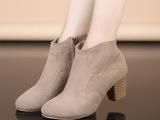 小辣椒真皮短靴中跟粗跟及裸靴短筒牛皮马丁女靴子一件代发