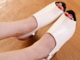 2014夏季新款粗跟真皮鱼嘴凉鞋女 高跟凉拖女式休闲时尚罗马鞋子