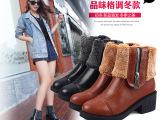 2014秋冬季新款女鞋英伦风粗跟短靴子毛口拉链踝靴中跟马丁靴批发