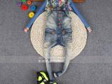 米加童装2015春款春装超软简约长裤牛仔背带裤韩版男女童潮裤中童