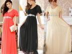 9200新款荷叶袖显瘦坠地礼服连衣裙加大码年会主持新娘伴娘晚礼服