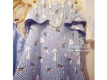 韩国代购兔子印花海军风条纹荷叶边短袖韩版露肩A字清新连衣裙