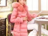 新款秋冬装女装 韩版修身中长款大毛领 羽绒服女装免费一件代发