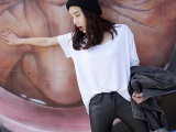 欧洲站春秋打底衫 2015韩版女夏装 大码纯棉短袖女式t恤 韩国