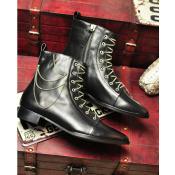欧洲站 2014秋冬新款 欧美尖头 复古短靴 金属链条马靴 牛皮单靴