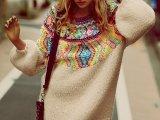 2014冬季时尚大牌全手工编织棒针长款毛衣 彩色毛线灯笼袖针织衫