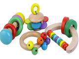 【依旺】木制摇铃四件套 0-1岁宝宝玩具 摇铃 婴幼儿摇铃亲子玩