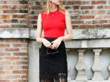 2015秋季新款欧美气质流苏半身裙修身显瘦性感蕾丝包臀裙女短裙