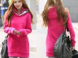 2014秋冬装新款女装连帽中长款纯色拉链领女式卫衣外套潮