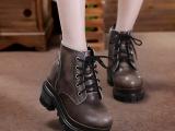 春秋新款英伦真皮粗跟短靴女 系带高跟马丁靴厚底及踝靴短筒踝靴
