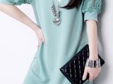 2014新款欧美春夏装蕾丝露肩中袖打底连衣裙