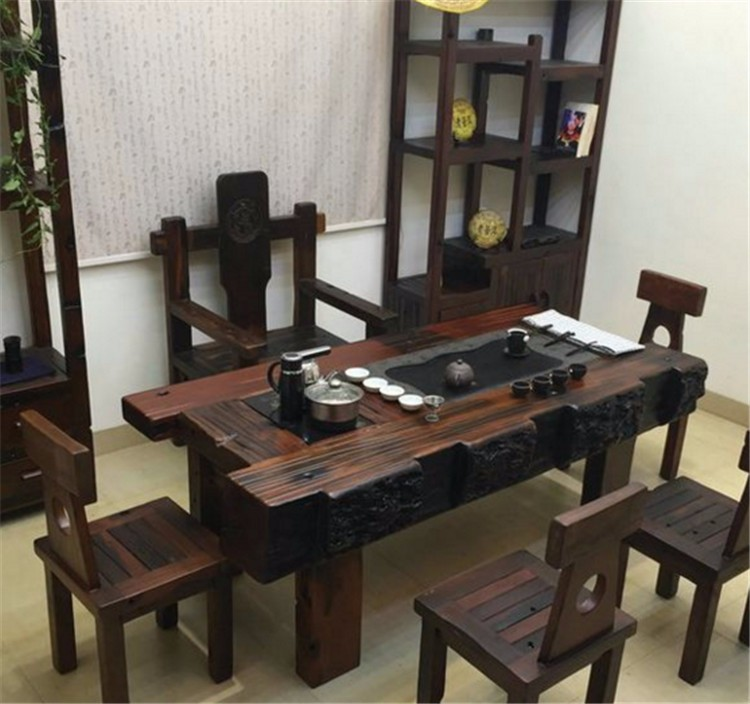 老船木家具电磁炉茶台,家用常规电磁炉茶桌,阳台专用小茶台